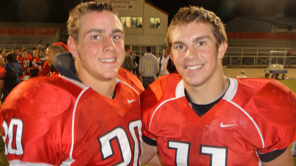 Tyler Swortfiguer (left) and Josh McCreath were senior leaders at Ripon, which lost its only game of the season in the CIF Sac-Joaquin Section playoffs to Central Catholic of Modesto but got a head-to-head win in September over Escalon.