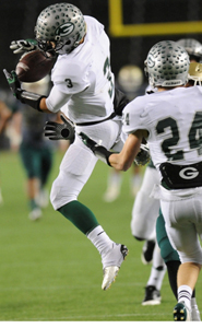 Aaron Knapp gets ready to grab his second interception for Granite Bay in the CIF D1 state final, this one with seconds left that clinched his team's win. Photo by Scott Kurtz.