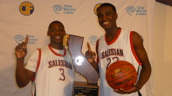 Salesian of Richmond standouts Mario Dunn and Jabari Bird were on the team's 2011-12 team that won the CIF Division IV state championship. Bird and the Pride topped defending CIF D2 champ Archbishop Mitty on Saturday.