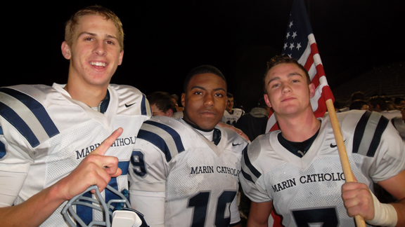 Marin Catholic's Jared Goff, Akili Terry and Alex Poksay went to Oroville on Saturday night and won the CIF Division III Northern California regional bowl game over Sutter. Photo by Harold Abend.