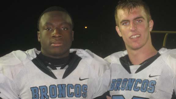 Two of the top sophomores in the CIF Central Section during the 2012 season were running back Bolu Olorunfunmi and defensive end Hayden Haupt, both from Division I champ Clovis North. Photo: Ronnie Flores.
