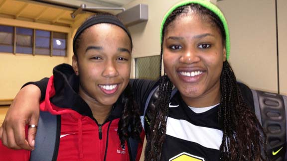Mikayla Cowling (left) from St. Mary's of Berkeley and K.C. Waters from Bishop O'Dowd of Oakland will be teammates in the future at Cal. Their teams could meet in this year's first CIF NorCal Open Division playoffs. Photo: Harold Abend.