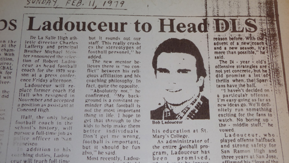 This is a photo of the clipping that announced the last time a head coach was chosen at De La Salle.