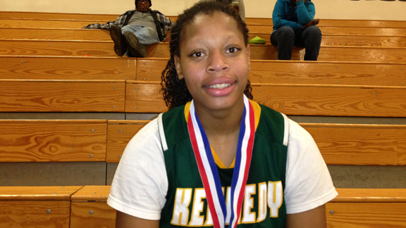 Lynette Johnson led Kennedy of Sacramento to last year's CIF Division I Northern California championship game. She was named all-tourney last week at the West Coast Jamboree. Photo by Harold Abend.