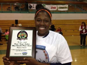 Mi'Chael Wright from Chaminade of West Hills with her West Coast Jamboree MVP award. Photo by Harold Abend