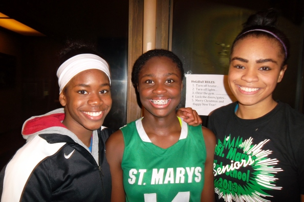 St. Mary's of Stockton standouts Onome Jemerigbe, Brijanee Moore and Unique Coleman led their team past St. Mary's of Berkeley last Saturday in matchup between two of state's top teams. Photo by Harold Abend.