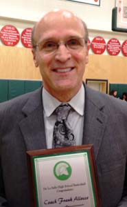 Frank Allocco received a plaque on the occasion of reaching 600 career wins, most which have come at De La Salle of Concord. Photo: Harold Abend.