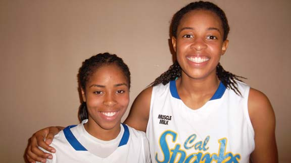 Jordin Canada of Windward and Erica McCall of Ridgeview were teammates on the Cal Sparks team that played at the Battle in the Boro in Nashville this past summer. Now, each is a finalist for Ms. Basketball State Player of the Year. Photo: Harold Abend.