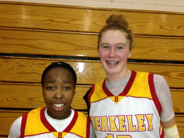 Berkeley's Rachel Howard (on the right) is a state stat star for this week. Her teammate, Jaiamoni Welch-Coleman, (on the left) is one of NorCal's top sophomore point guards. Photo by Harold Abend.