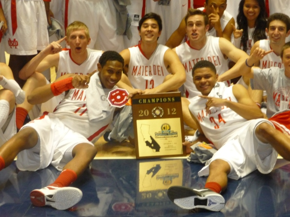 Players from Mater Dei of Santa Ana celebrate their victory in last year's CIF Southern Section Division I-AA final. The Monarchs are playing Etiwanda in this year's final on Saturday at the Anaheim Convention Center.