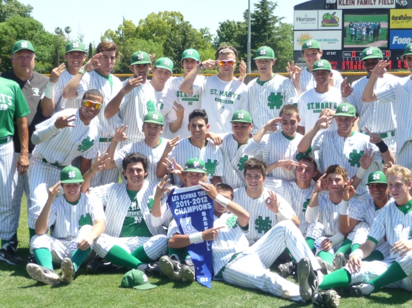 St. Mary's of Stockton players show that they know how many CIF Sac-Joaquin Section titles they've won at the end of last season's Division I championship series. The Rams should remain one of Northern California's best this season.