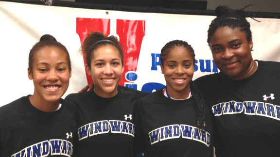 Windward of Los Angeles, led by Courtney Jaco, Macchi Smith, Jordin Canada and Kristen Simon (l-r) are one win from state team of the year honors with 324 students in grades 9 through 12 at the school.
