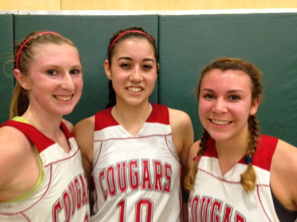 Leading Carondelet of Concord to the unofficial NorCal Division II title on Saturday were Mackenzie Cast, Lauren Nicolosi and Natalie Romeo. The Cougars play Stockton St. Mary's on Tuesday. Photo: Harold Abend.