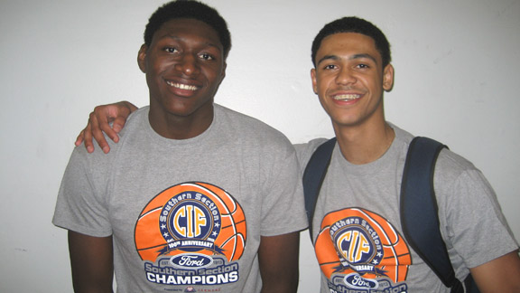 Darien Williams and Tyler Dorsey helped St. John Bosco of Bellflower win the CIF Southern Section Division 3-A title on Saturday at the Anaheim Convention Center. Photo by Ronnie Flores.
