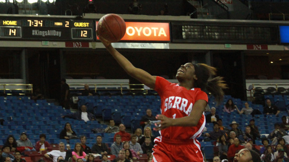 Sophomore guard Nautica Morrow from Serra of Gardena has an open lane to the basket in the CIF Division IV state final. Her team won its first state title and finished No. 14 overall in the state. Photo: Willie Eashman.