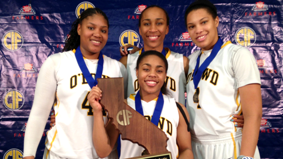 Members of the Bishop O 'Dowd girls team are all smiles after capturing the first-ever CIF Open Division championship. The Lady Dragons are the 2012-13 State Team of the Year.