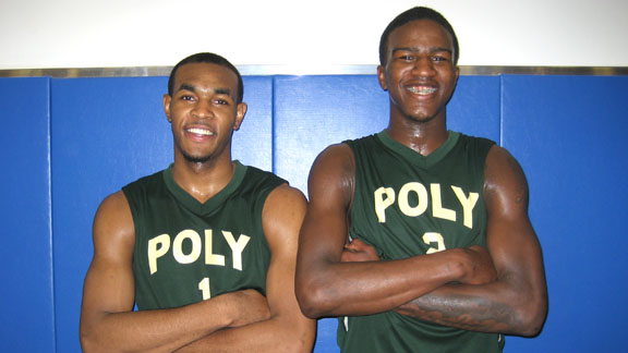 Roschon Prince and Jordan Bell had much to be smiling about after their team at Long Beach Poly won at the buzzer on Friday night over St. John Bosco of Bellflower in the CIF Open Division playoffs.