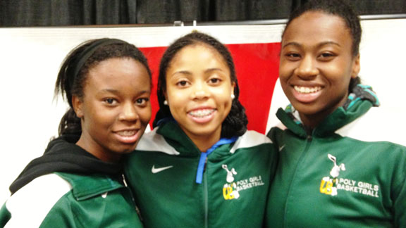 Tania Lamb, Arica Carter and Keyla Morgan are key players for Long Beach Poly as it will attempt to win the school's fifth CIF state championship in girls basketball on Friday in Sacramento. Photo: Harold Abend.