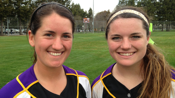 Krista Williams (left) provided the offense and Arizona State-bound Johanna Grauer didn't allow a run from the circle as Amador Valley won the Queen of the Mountain Tournament in Pleasanton.