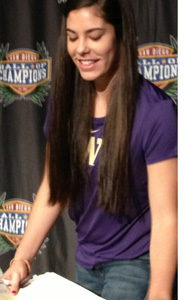 Kelsey Plum gets ready to sign her letter of intent with Washington at the San Diego Hall of Champions.