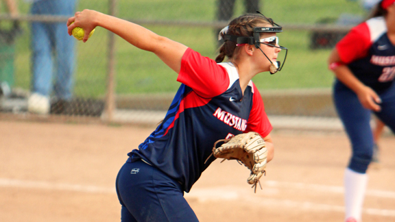 Junior Paige Von Sprecken has been wrecking the batting averages of opposing players as the pitcher for the Yorba Linda softball team. The Mustangs are still No. 5 in this week's rankings. Photo courtesy Yorba Linda High School.