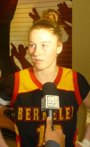 Berkeley's Rachel Howard speaks to TV reporter after team won CIF NorCal Open Division title.